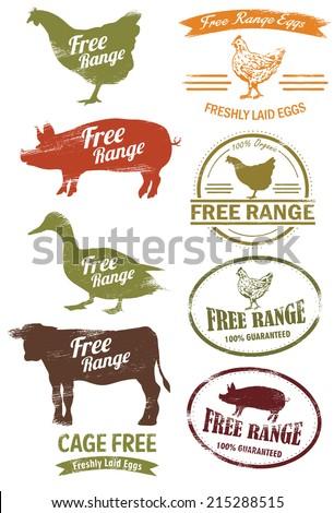 free range meat stamp  vector