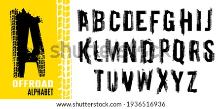 Free ride. Grunge tire letters. Off road lettering in a black color isolated on white background. Editable vector illustration. Grunge typography useful for automotive poster, print, leaflet design.