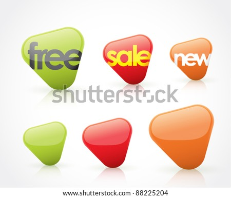 free, sale, new, and blank icons (arrows)