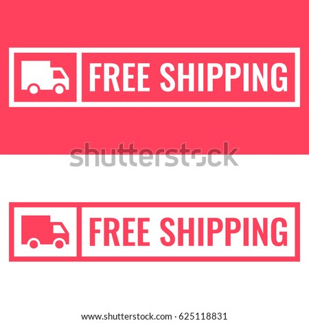 Free shipping. Badge with truck icon. Flat vector illustration on white and red background.