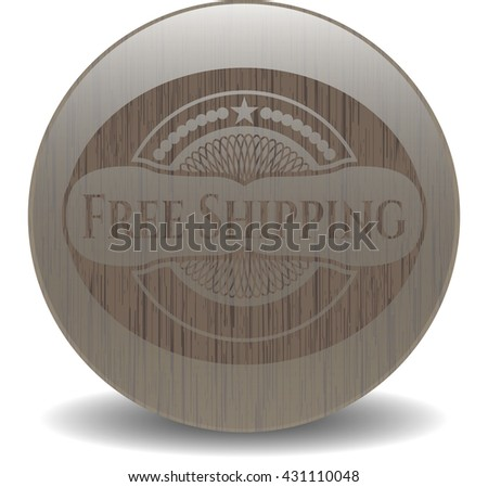 Free Shipping badge with wooden background