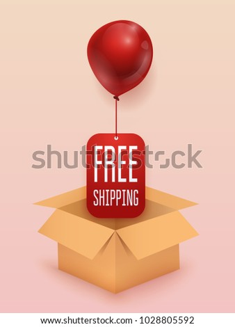 Free shipping business concept. Box with red balloon. Flat design modern vector illustration concept.