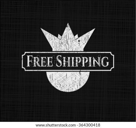 Free Shipping chalk emblem written on a blackboard