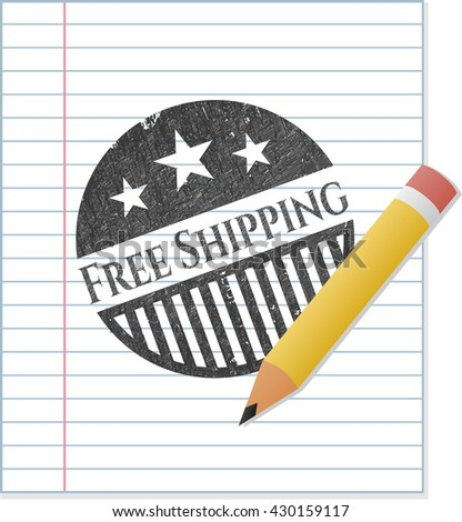 Free Shipping emblem with pencil effect