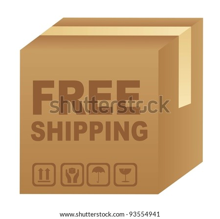 free shipping text over cardboard box isolated. vector illustration
