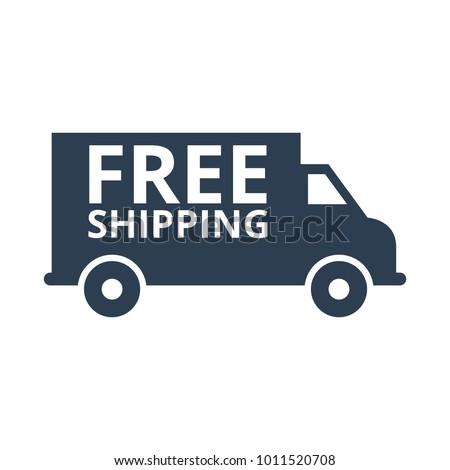 free shipping truck on white background. Vector illustration