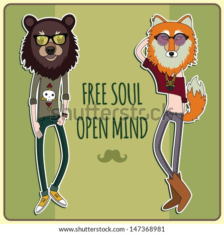 Free soul Open Mind Fashionable hipster bear and fox