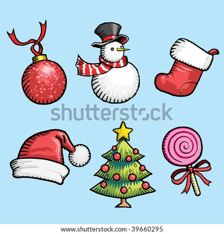 free stoke style illustration: Set of Christmas elements ready to use for advertising promotion, sales, offer, discount, as label, price tag, icon, web design..