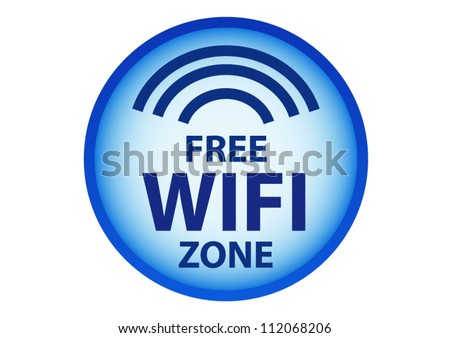 Free wifi here sign concept in blue circle