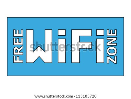 Free WiFi zone blue sign in a rectangle frame