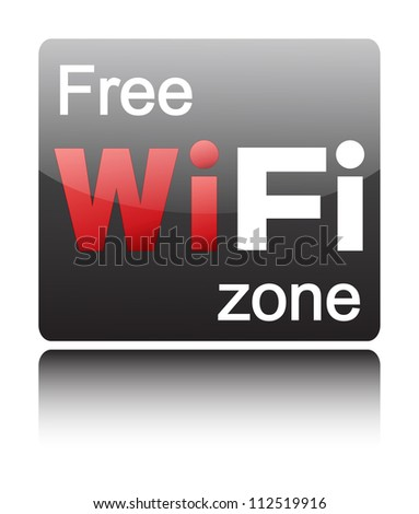 Free wifi zone on black glossy button