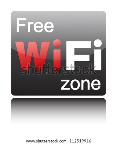 Free wifi zone on black glossy button