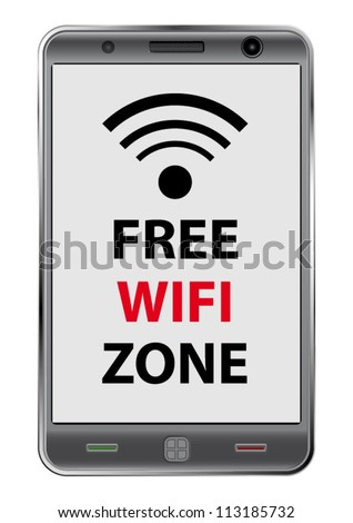 Free WiFi zone sign in a modern smartphone