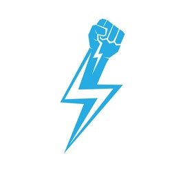 freedom concept. vector blue fist icon on white.