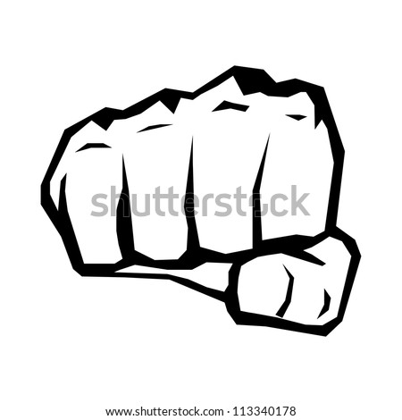 freedom concept. vector fist icon. fist silhouette on white.