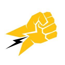 freedom concept. vector orange  fist icon on white.