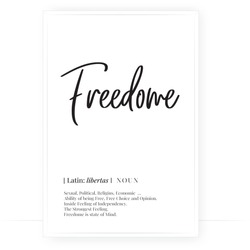 Freedom definition, Minimalist Wording Design, Wall Decor, Wall Decals Vector, Freedom noun description, Wordings Design, Lettering Design, Art Decor, Poster Design isolated on white background