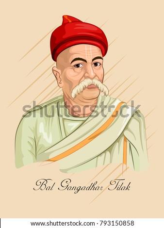 Freedom Fighter and National Hero of India Bal Gangadhar Tilaki. Vector illustration