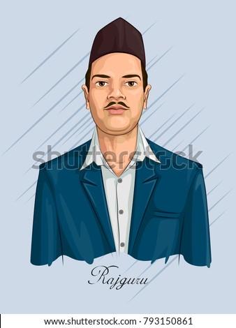 Freedom Fighter and National Hero of India Rajguru. Vector illustration Foto stock ©