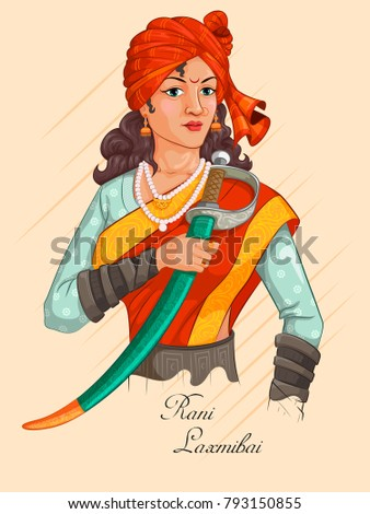 Freedom Fighter and National Hero of India Rani Laxmibai. Vector illustration