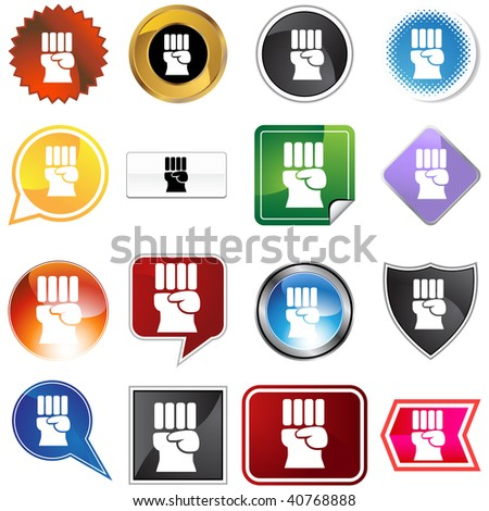Freedom fist icon set isolated on a white background.