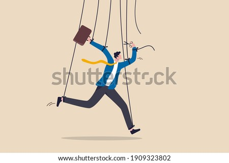Freedom for work and decision making, authority to work independently, stop micromanagement, or people manipulation concept, businessman marionette, puppeteer use scissors to cut controlled strings. Foto stock ©