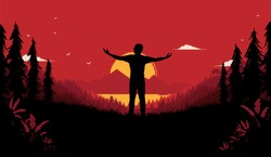 Freedom illustration. Person standing alone in nature with beautiful view, holding arms out, embracing the sunrise. True happiness, being free, and bright future concept in powerful colours. Vector.