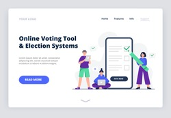 Freedom of choice concept. People vote pros and cons. Online voting concept, electronic voting. Flat vector illustration can be used for landing page, web, UI, banner, flyer, poster.