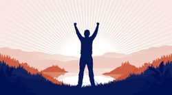Freedom of movement - Silhouette of happy male person with hands in air standing in front of sun in landscape. Travel and be free concept. Vector illustration.