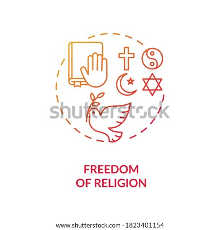 Freedom of religion concept icon. Religious coexistence idea thin line illustration. Fundamental human right. Pluralism. Secularism. Amendment. Vector isolated outline RGB color drawing Сток-фото ©