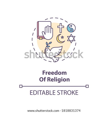 Freedom of religion concept icon. Religious liberty and pluralism idea thin line illustration. Fundamental human right. Secularism. Vector isolated outline RGB color drawing. Editable stroke Сток-фото ©