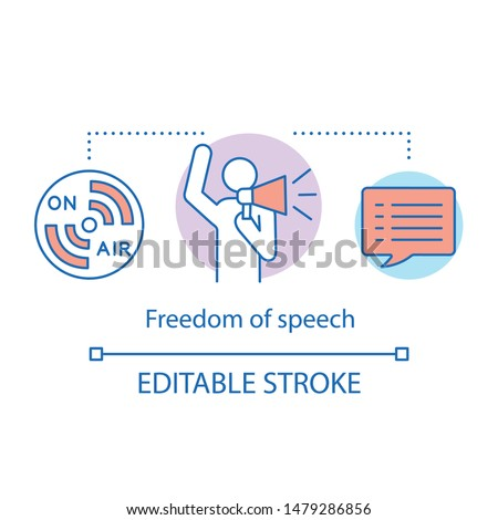 Freedom of speech concept icon. idea thin line illustration. Expressing opinions, thoughts freely. Public speech. Democracy principle.. Vector isolated outline drawing. Editable stroke