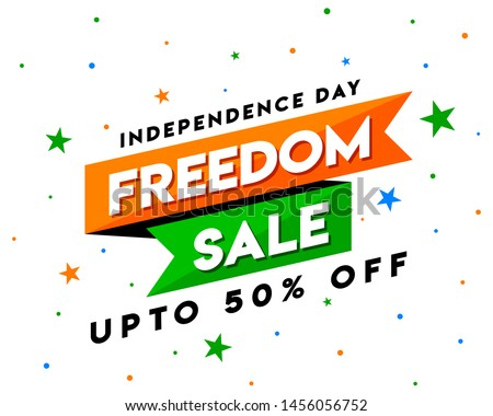 Freedom Sale on Independence Day of India, Concept, Template, Banner, Logo Design, Icon, Poster, Unit, Label, Web Header, Mnemonic with Celebration white Background - Vector, illustration