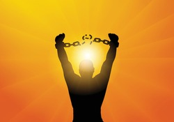 Freedom. Silhouette of man breaking chains in handcuffs. Vector illustration
