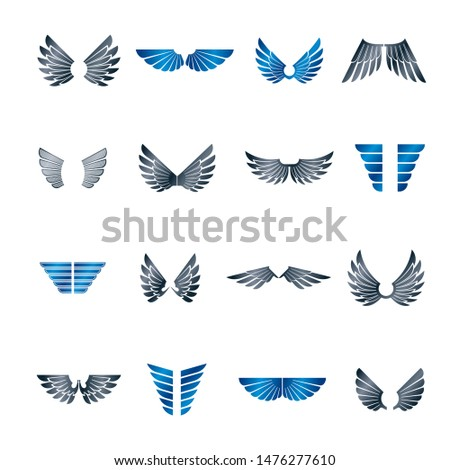 Freedom Wings emblems set. Heraldic Coat of Arms decorative logos isolated vector illustrations collection.