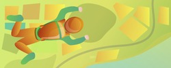 Freefall skydiver in green field concept banner. Cartoon illustration of freefall skydiver in green field vector concept banner for web design