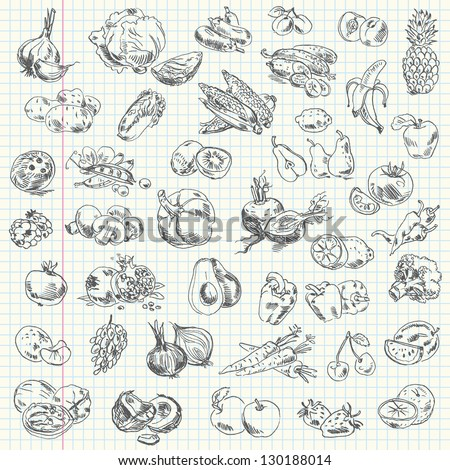 Freehand drawing fruit and vegetables on a sheet of exercise book. Vector illustration. Set