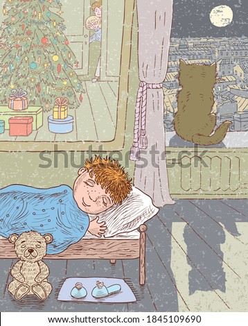 Freehand drawing of little boy sleeping in his room in christmas moonlit night