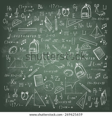 Freehand drawing school items on the green blackboard. Vector illustration.