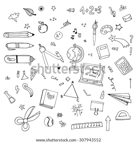 Freehand drawing Vector of Back to School supplies. School supplies learning equipment and different school supplies colorful office accessories. Back to school school supplies in school bag big set