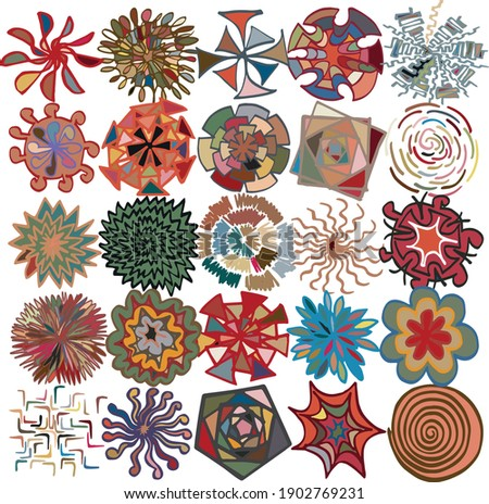 Freehand drawn simplistic motifs assembled into 5 x 5 grid pattern  Photo stock ©