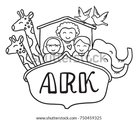 Freehand Drawn Vector Illustration Black And White Cartoon Noahs Ark With Children Animals