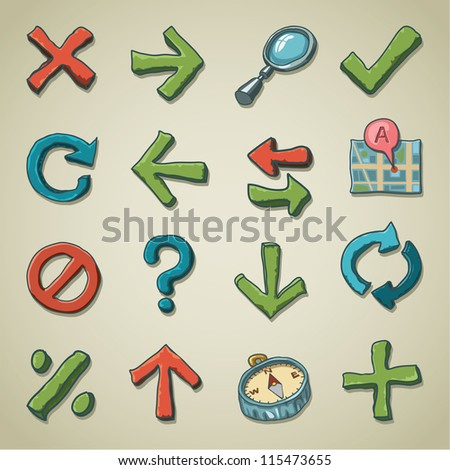 Freehand icons - Navigation - stock vector