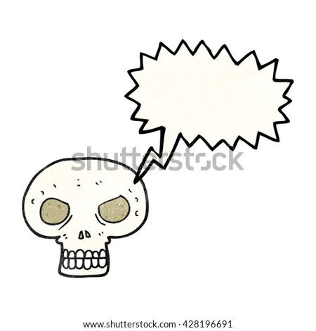 freehand speech bubble textured cartoon skull