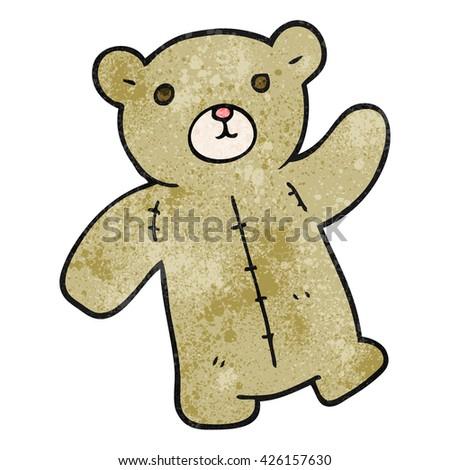 freehand textured cartoon teddy