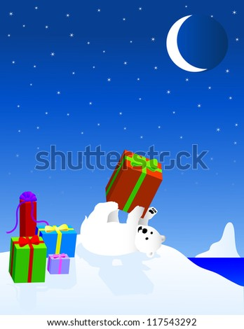 Freehand vector illustration of Baby Polar Bear With Gifts