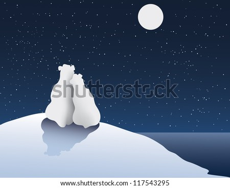 Freehand Vector Illustration of Polar Bear Romance
