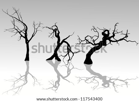 Freehand vector illustration of Spooky Winter Trees