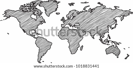 Sketch world map vectors download free vector art stock graphics freehand world map sketch on white background gumiabroncs Choice Image