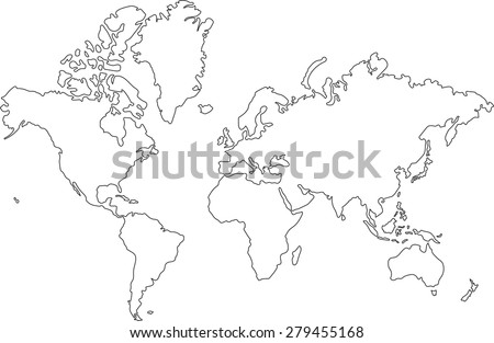 Free World Map Lines Vector - World map drawing outline